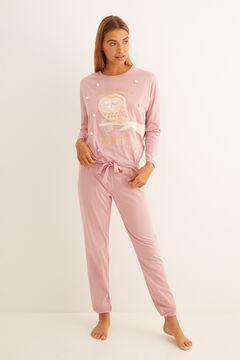 Womensecret Bagolymintás, rózsaszín hosszú pizsama rózsaszín
