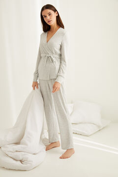 Womensecret Long ribbed super soft pyjamas in grey grey