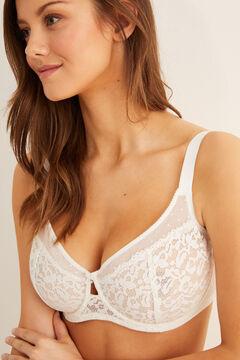 Womensecret Guipure lace reducer bra white