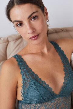 Womensecret Turquoise lace triangular bodysuit blue