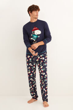 Womensecret Long navy Snoopy winter pyjamas blue