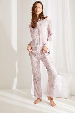 Womensecret Pijama largo camisero satén flores rosa rosa