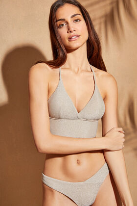 Womensecret Shiny bralette bikini top  grey