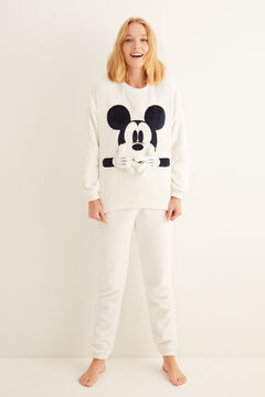 Womensecret White Mickey calendered fleece pyjamas beige