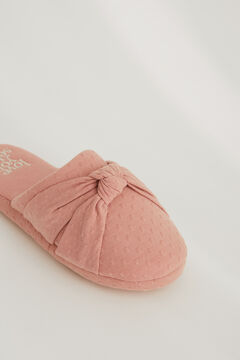 Womensecret Plumetis slider slippers with knot pink
