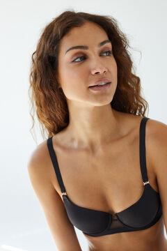 Womensecret Classic black microfibre tulle heat-sealed padded bra black