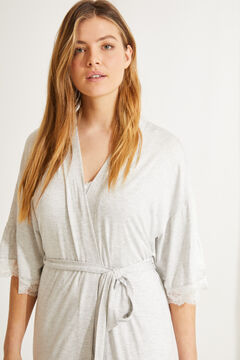 Womensecret Grey super soft flounced midi robe grey