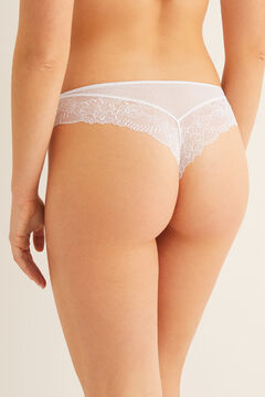 Womensecret Brazilian mesh and lace panty white