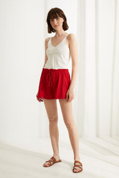 Womensecret Red fringed cotton pyjama shorts burgundy