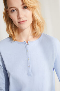 Womensecret Long-sleeved cotton top blue