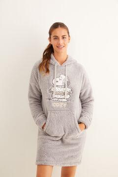 Womensecret Camisa de dormir polar Snoopy capuz cinzento