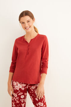 Womensecret Burgundy long-sleeved Henley t-shirt red