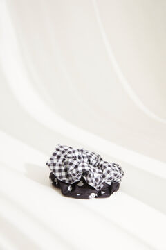 Womensecret Pack of gingham scrunchies with hearts black