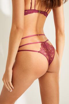 Womensecret Maroon lace G-string printed