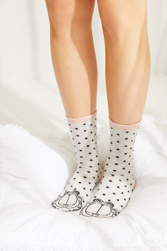 Womensecret White polka-dot Garfield socks nude