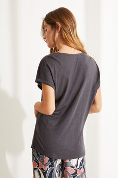 Womensecret Grey linen V-neck top grey