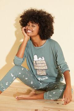 Womensecret Long green cotton pyjamas green