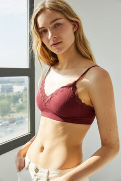 Womensecret Burgundy seamless sustainable top with lace red