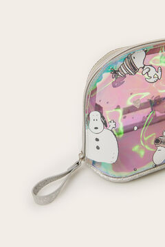 Womensecret Small iridescent Snoopy vanity case grey