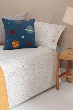 Womensecret Set funda nórdica y funda de almohada niños algodón percal estrellas. Cama 80-90cm. blanco