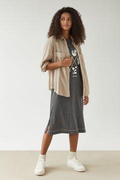 Womensecret 100% cotton grey midi Snoopy nightgown grey