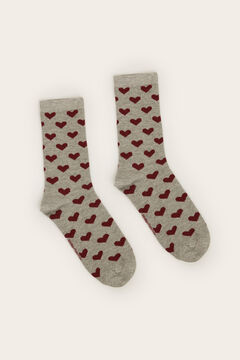 Womensecret Two-tone long heart socks grey