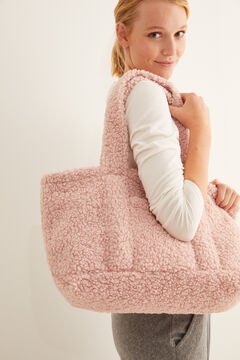 Womensecret Pink faux shearling bag pink