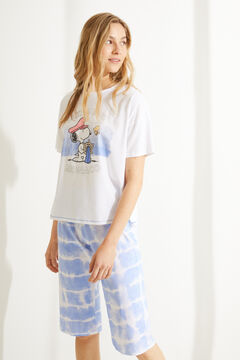 Womensecret Tie dye Snoopy 100% cotton short-sleeved pyjamas white