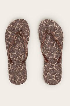 Womensecret Giraffe print flip-flops beige