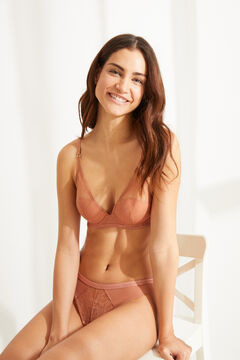 Womensecret INTUITIVE Orange lace and cotton padded underwired halterneck bra brown