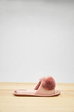 Womensecret Pink pompom open-back slippers pink