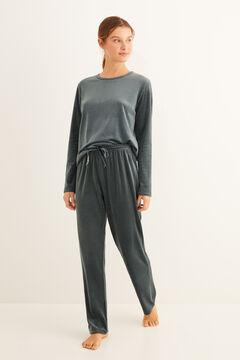 Womensecret Langer Pyjama Grün Velours Grün