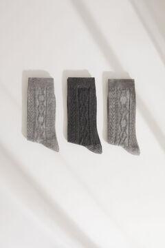 Womensecret Pack of 3 long grey ribbed socks grey