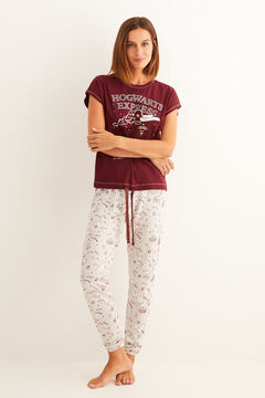 Womensecret Maroon short-sleeved Hogwarts Express pyjamas printed