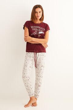Womensecret Pyjama à manches courtes Poudlard Express grenat imprimé