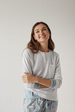 Womensecret Henleyshirt mit langen Ärmeln Baumwolle Grau grey
