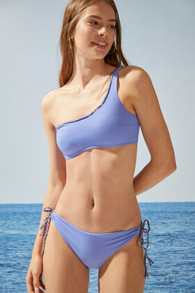 Womensecret Blue flounced asymmetric bandeau bikini top pink