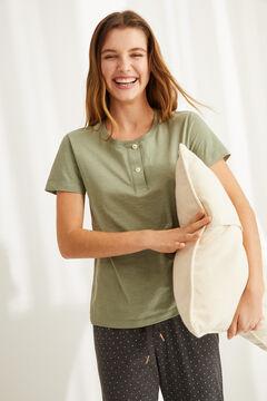 Womensecret T-shirt serafino coton vert imprimé