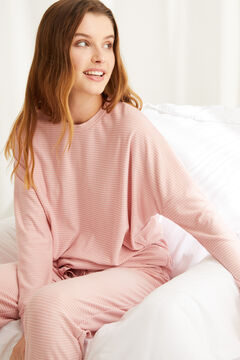 Womensecret Long super soft striped pyjamas in pink printed