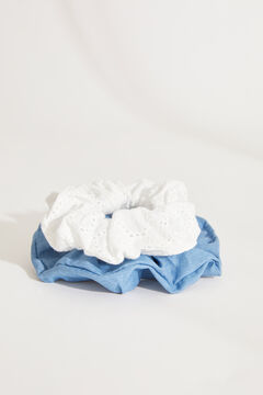 Womensecret Pack of 2 denim and embroidered scrunchies. printed