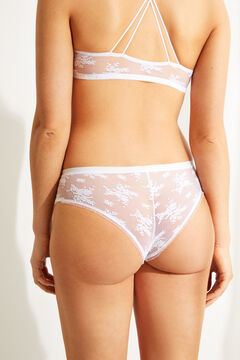 Womensecret White lace wide side Brazilian panty white