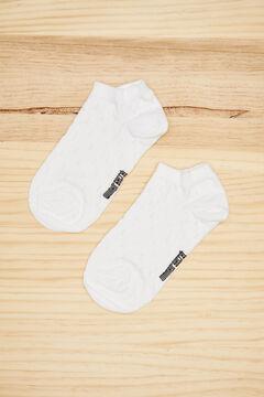 Womensecret Pink cotton polka-dot short socks white
