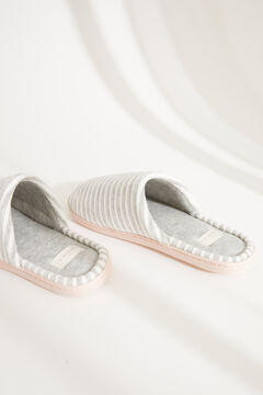 Womensecret Striped grey velour slingback slippers grey