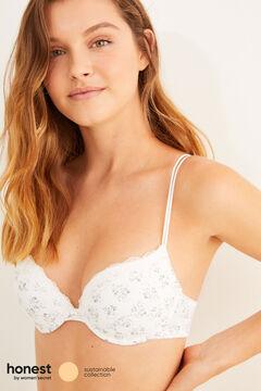 Womensecret Soutien-gorge push-up coton biologique à fleurs beige