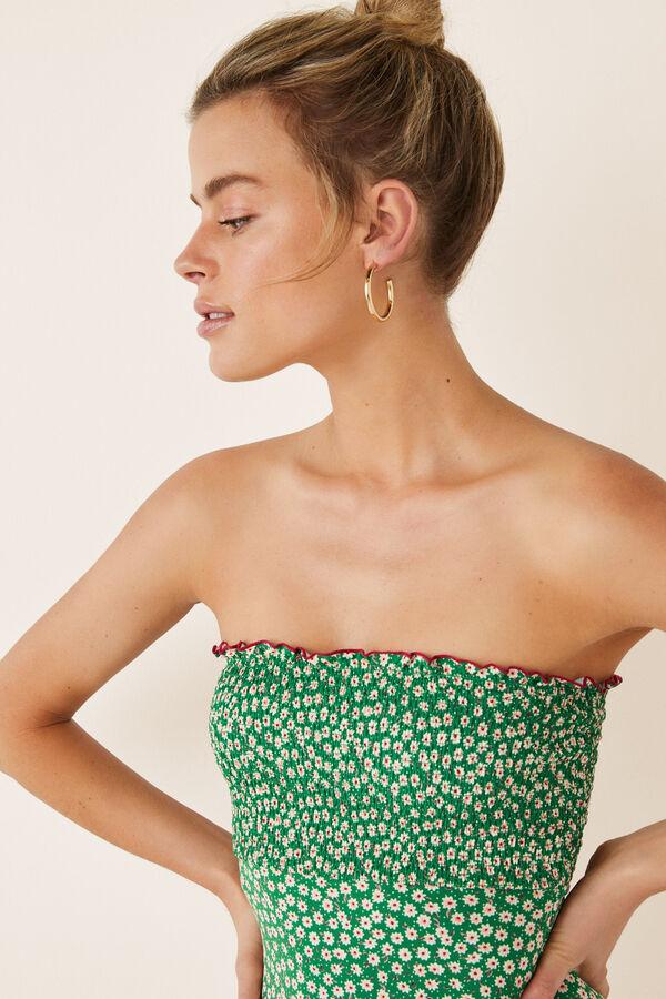 e213d0886 Womensecret Bañador bandeau estampado miniflor verde