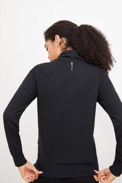 Womensecret Sweatshirt com fecho-éclair na gola preto
