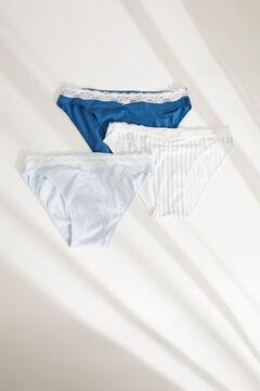 Womensecret 3-pack blue cotton Brazilian panties blue