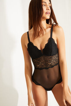 Womensecret Black lace strappy triangular bodysuit black