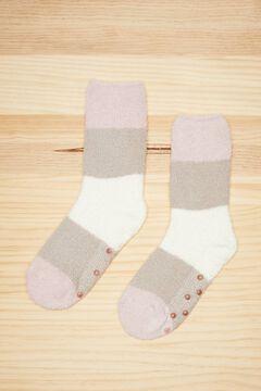 Womensecret Fluffy multicoloured stripe socks printed