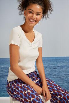 Womensecret T-shirt manches courtes côtelé blanc beige